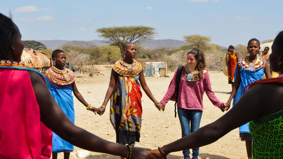 Projects Abroad volunteers learn a traditional dance during their project in Tanzania.